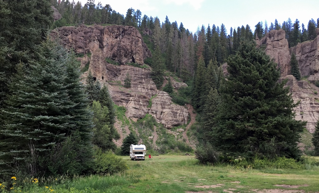 Boondocking campsite on East Fork Road