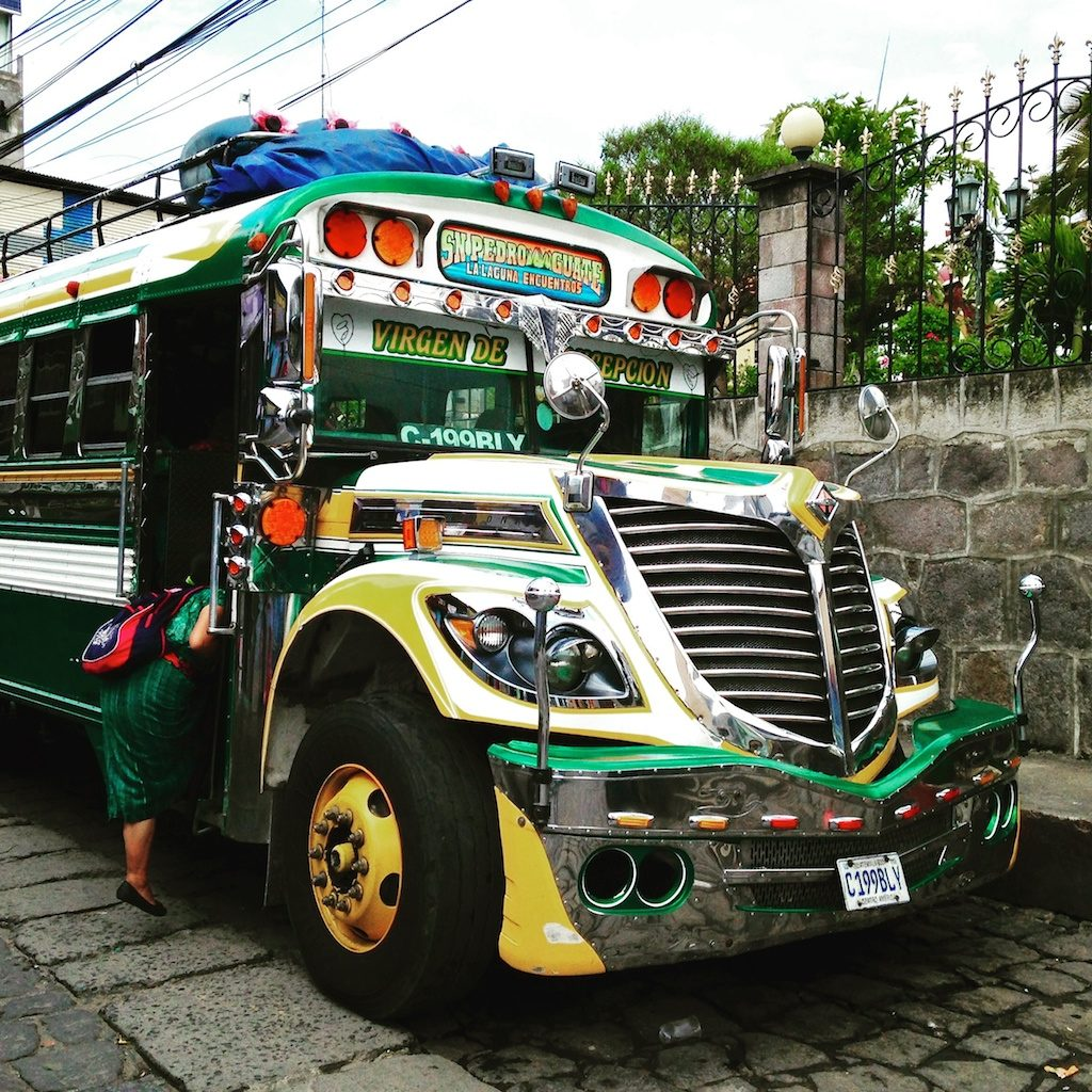 Chicken bus in San Pedro, Guatemala