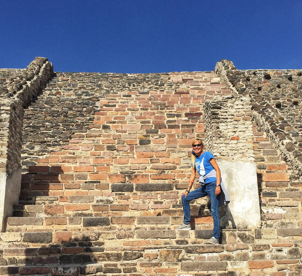 Climbing a Toltec pyramid at Tula, Mexico
