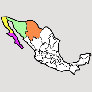 Mexico map with 4 states done, square