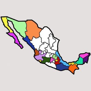 Mexico map with 20 states done, square