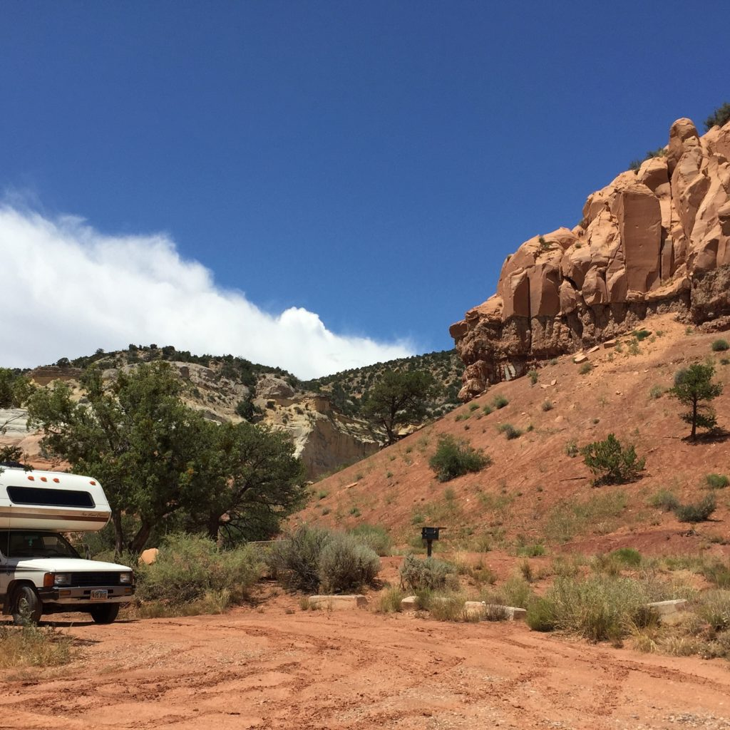 Camping at Echo Amphitheater campground in New Mexico