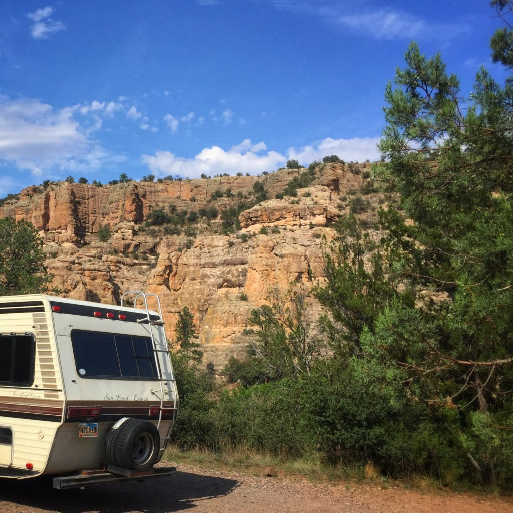 Gorgeous cliffs, camping at the Gila Forks