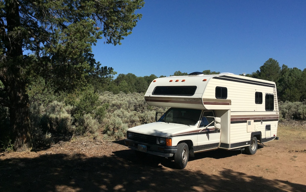 Parked at Taos Junction, free camping near Ojo Caliente