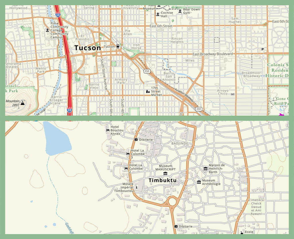 The Gaia app includes maps from Tucson to Timbuktu