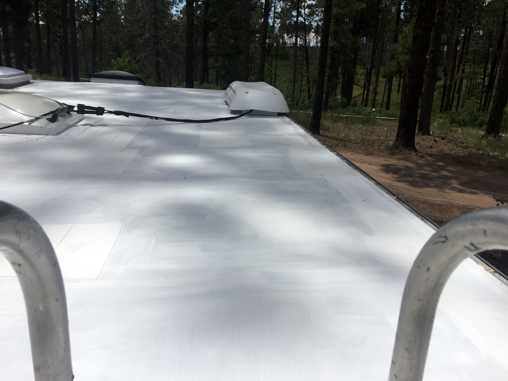 RV roof after painting with elastomeric paint