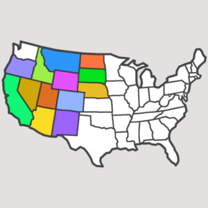 US map with 13 states done, square