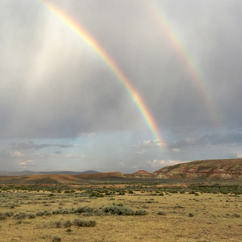 Boondocking with rainbows! Robbers Gulch, Wyoming