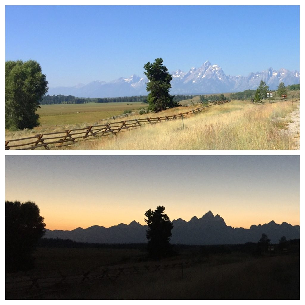 The Tetons during the complete solar eclipse