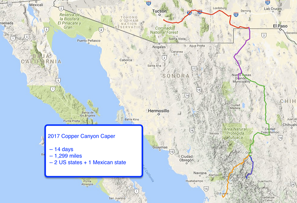 Route map for Copper Canyon road trip in Mexico