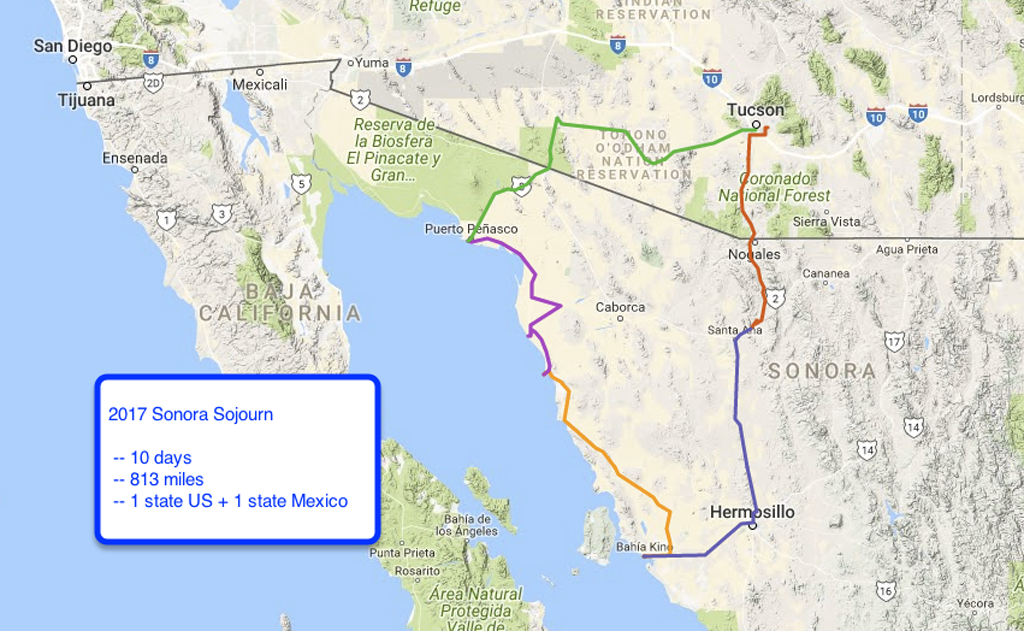 Route for Zennie trip 2017, Sonora Sojourn